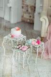 Härlig mångfärgad dekorerad bakad söt smaklig efterrätt för godisstång royaltyfri foto