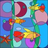Härlig mångfärgad klotterfisk på abstrakt havsbakgrund royaltyfri illustrationer