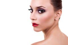 härlig makeupkvinna fotografering för bildbyråer