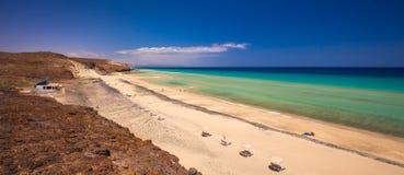 Härlig Mal Nobre sandig strand, Jandia, Fuerteventura, kanariefågelöar, Spanien Arkivbild