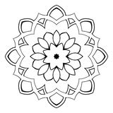Härlig mandala för albumet Symmetrisk prydnad i ciren Royaltyfri Bild