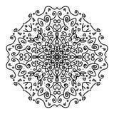 Härlig mandala som färgar, att svärta i vit bakgrund stock illustrationer