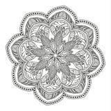 Härlig Mandala svart white stock illustrationer