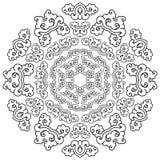 Härlig Mandala svart white Fotografering för Bildbyråer