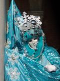 härlig maskering i venice, vinter med snöflingan Royaltyfria Bilder