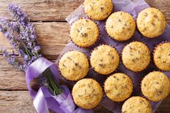 Härlig matefterrätt: muffin med lavendel blommar närbild fotografering för bildbyråer