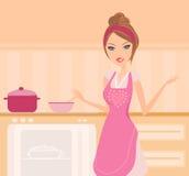 härlig matlagninglady Royaltyfri Foto