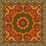 Härlig matta eller bordduk med blommamandalaen och dekorativ ram i indisk stil Arkivfoto
