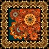 Härlig matta eller bordduk med blommamandalaen och dekorativ ram i indisk stil Royaltyfri Foto