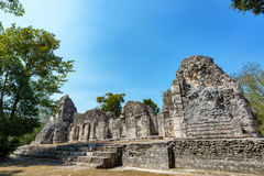 Härlig Mayan tempel i Chicanna, Mexico royaltyfria foton