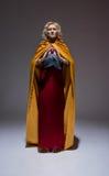 härlig medeltida klänningflicka Fotografering för Bildbyråer