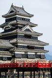 Härlig medeltida slott Matsumoto i den östliga Honshuen, Japan Arkivbilder