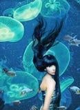härlig mermaid Arkivbilder