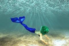 Härlig mermaidsimning vektor illustrationer