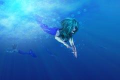 Härlig mermaidsimning royaltyfri illustrationer