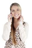 härlig mobil kvinna Arkivbild