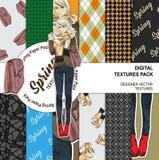 Härlig modeflicka med en påse och halsduk på en bakgrund vektor illustrationer
