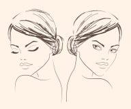härlig modekvinna vektor illustrationer
