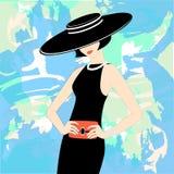Härlig modekvinna i retro hattillustration stock illustrationer