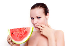 härlig model vattenmelon Royaltyfri Fotografi