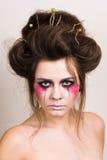 Härlig modell för allhelgonaaftonsmink med den perfekta frisyren Royaltyfria Foton