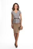 Härlig modell för mode för affärskvinna som isoleras på vit Royaltyfri Fotografi