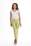 Härlig modell för mode för affärskvinna som isoleras på vit Arkivbilder