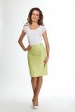 Härlig modell för mode för affärskvinna som isoleras på vit Arkivbild