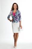 Härlig modell för mode för affärskvinna som isoleras på vit. Fotografering för Bildbyråer
