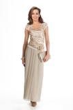 Härlig modell för mode för affärskvinna som isoleras på vit. Fullt s Fotografering för Bildbyråer