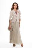 Härlig modell för mode för affärskvinna som isoleras på vit. Fullt s Arkivfoton