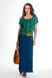 Härlig modell för mode för affärskvinna som isoleras på vit, gräsplan Royaltyfri Foto