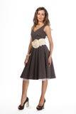 Härlig modell för mode för affärskvinna som isoleras på vit. Retro Arkivbild