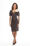 Härlig modell för mode för affärskvinna som isoleras på vit. Retro Arkivbilder