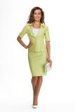 Härlig modell för mode för affärskvinna som isoleras på vit. Sommar Royaltyfri Fotografi