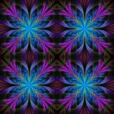 Härlig modell från fractalblommor Blå och purpurfärgad palett Royaltyfri Bild