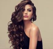 Härlig modell med den länge, täta och lockiga frisyren fotografering för bildbyråer