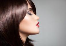 Härlig modell med perfekt långt glansigt brunt hår arkivbild