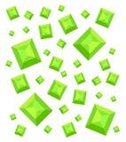 Härlig modell med smaragdar mot mörkret - gräsplan Arkivfoton
