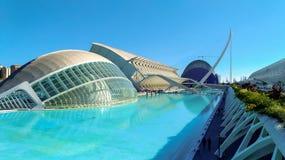 Härlig modern arkitektur av byggnaden i den komplexa staden av konster och vetenskaper i Valencia, Spanien royaltyfri foto