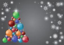 Härlig modern julgran med bollar på en grå bakgrund stock illustrationer
