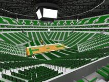 Härlig modern sportarena för basket med gröna stolar Arkivbilder