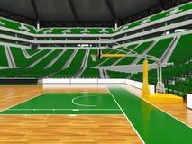 Härlig modern sportarena för basket med gröna stolar Arkivbild