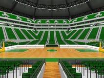 Härlig modern sportarena för basket med gröna stolar Royaltyfri Foto