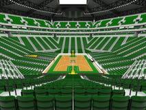 Härlig modern sportarena för basket med gröna stolar Royaltyfri Fotografi