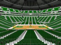 Härlig modern sportarena för basket med gröna stolar Royaltyfria Bilder
