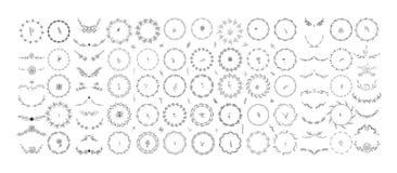 Härlig monogramuppsättning med blom- beståndsdelar stock illustrationer