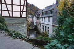 Härlig Monschau arkitektur i Tyskland Arkivfoto