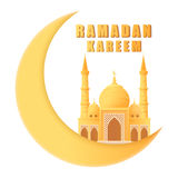 Härlig moské för Ramadankareem på den isolerade växande månen Royaltyfria Foton