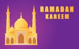 Härlig moské för Ramadankareem på den växande månevykortet Royaltyfria Bilder